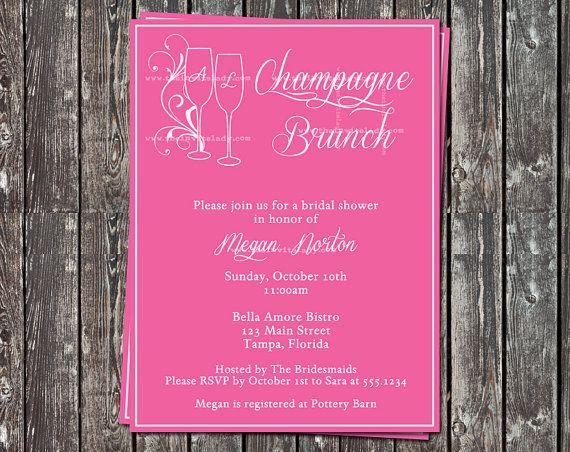 Champagne brunch bridal shower invitations pink wedding for Champagne brunch bridal shower