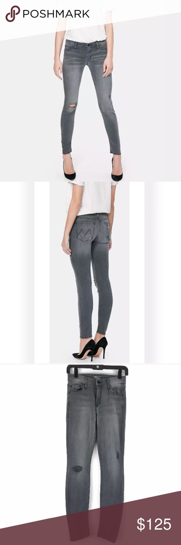 """Mother Denim The Looker Skinny Gray Jeans NEW no tags The Looker is Mother's classic mid rise, skinny jean in a form fitting silhouette guaranteed to turn heads Last Chance Saloon is a faded medium grey was, with a smooth hem and thrashed knee Style # 1001L-303 Approx. Measurements laying flat Waist 13"""" Rise 9"""" Inseam 30"""" MOTHER Jeans Skinny"""