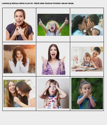 tunteiden tunnistamisen tehtävä, jossa ihmisten tunnetilat tulevat ilmi heidän ilmeistään sekä eleistään. Tehtävä on vaikeampi kuin vaikkapa pelkkien kasvonilmeiden tunnistaminen.