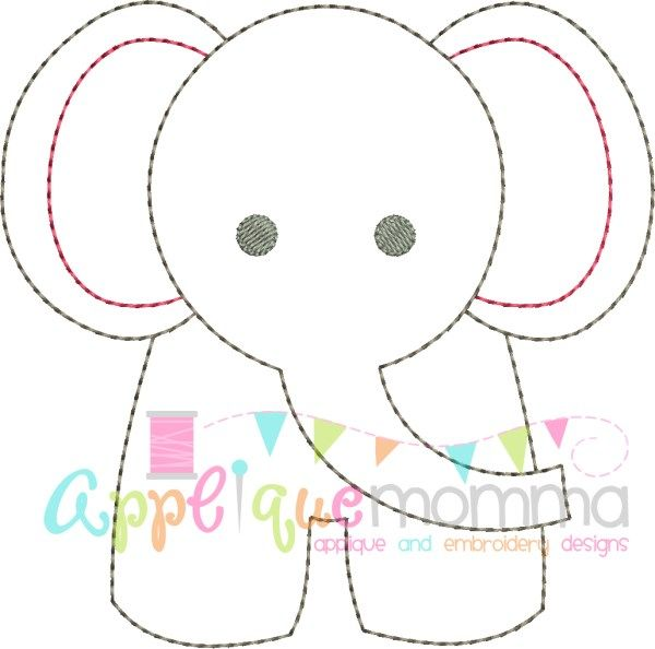 Elephant Vintage Embroidery Design
