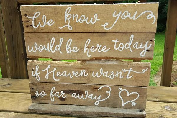 Honor your loved ones who can't be with you on your wedding day with this sign.