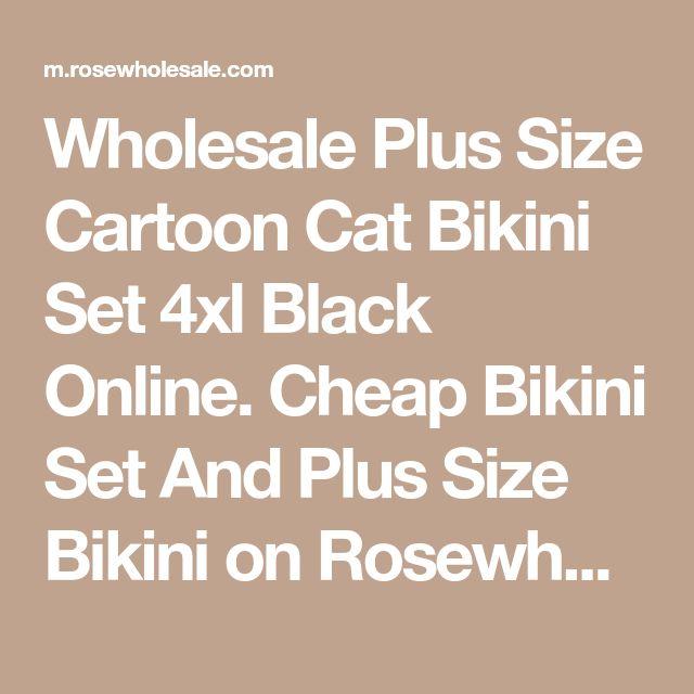 Wholesale Plus Size Cartoon Cat Bikini Set 4xl Black Online. Cheap Bikini Set And Plus Size Bikini on Rosewholesale.com