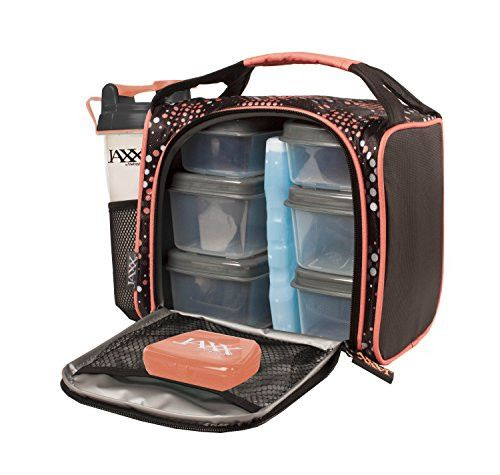 Jaxx FitPak with Portion Control Container Set, Reusable Ice Pack, and Shaker Cup (Black/Pink)