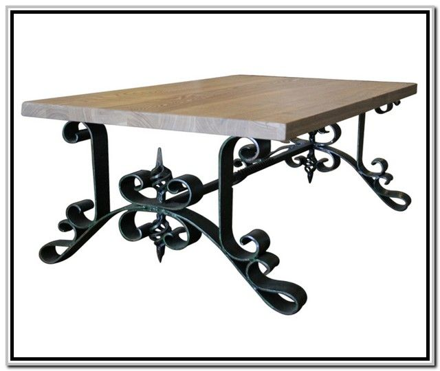 108 best wrought iron tables images on pinterest wrought for Wood coffee table with wrought iron legs