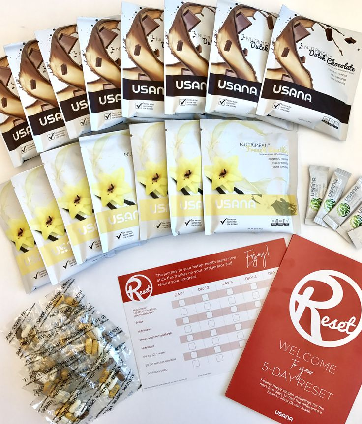 Are you wondering what each box of USANA Reset includes? Each box comes with:- 15 single-serving pouches of Nutrimeal™ (8 Dutch Chocolate, 7 French Vanilla)- 5 stick packs of USANA® Probiotic- 5 AM/5 PM HealthPak™ packets- Plus you'll get a tracker card and a program guide with healthy, whole food snack suggestionsIt's everything you need to get started on your journey to a whole new you.