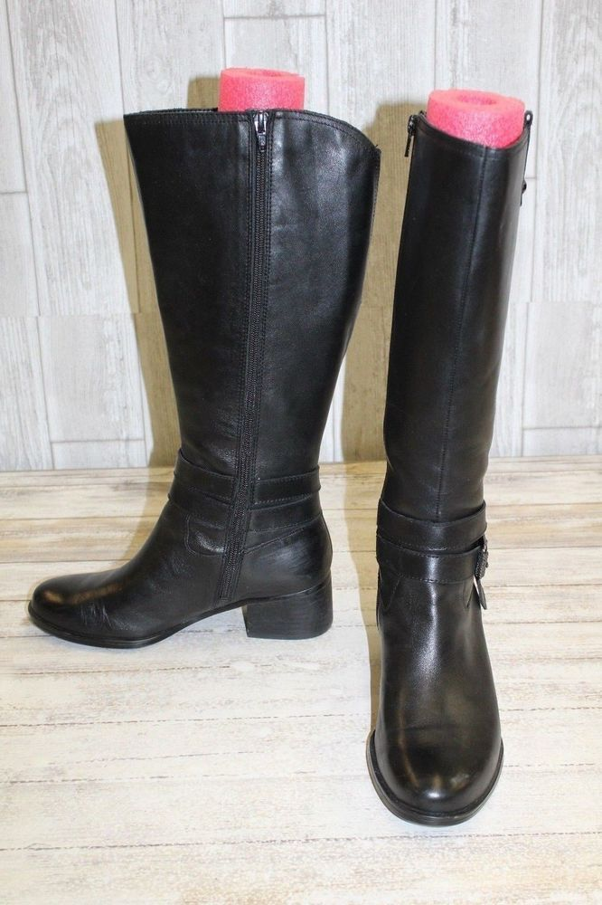 69c669cb63ab Naturalizer Dev Sz 7.5 W Wide Calf Women s Black Leather Equestrian Boots   fashion  clothing