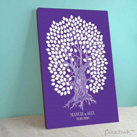 Libro degli ospiti quercia albero - Wedding Wish Tree - ospiti Peachwik Interactive firma Art - 225 - Oakwik-matrimonio Galleria avvolto tela
