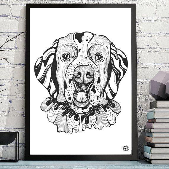 St.Bernard Dog A4 A5 illustration print art dog print by mmuffn