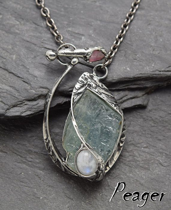 Aquamarine necklaceHealing chakra necklaceSterling