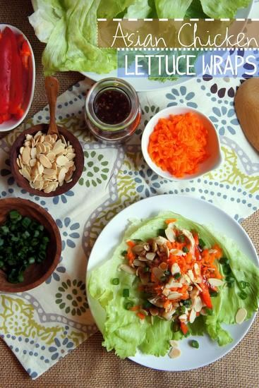 Asian Chicken Lettuce Wraps (WW 8pts+)   via Rachel @ TwoHealthyPlates.com