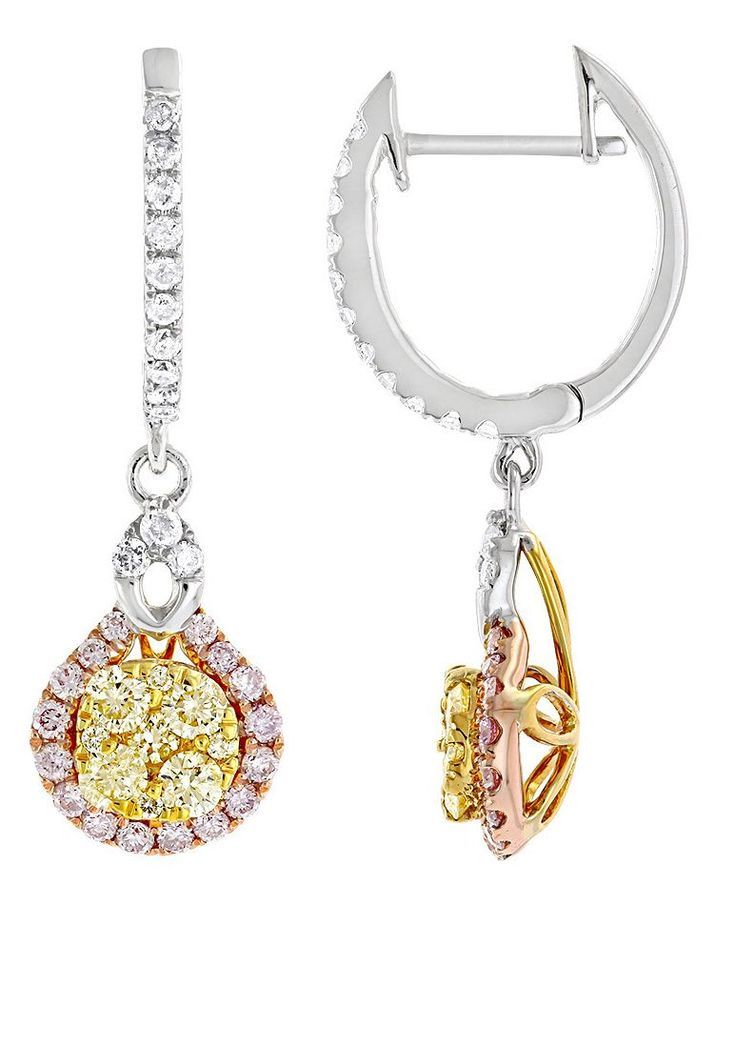 Luxurman Jewelry! These Unique White Yellow Pink Diamond Ladies Drop Earrings showcase 1.3 carats of dazzling white, yellow and pink diamonds masterfully pave set in 14K solid gold.