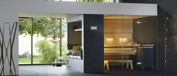 Klafs Sauna Lounge Q with glass front and control unit Touchcontrol