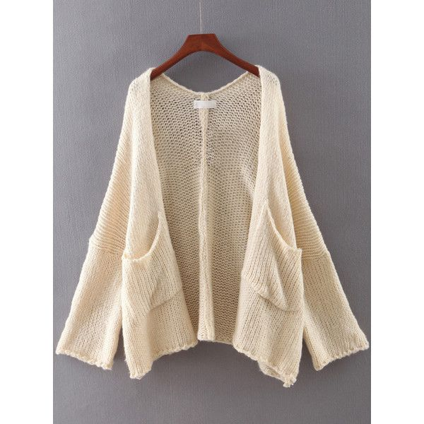 SheIn(sheinside) Beige Long Sleeve Pocket Cardigan (3545 RSD) ❤ liked on Polyvore featuring tops, cardigans, cut loose tops, pink top, long sleeve tops, short-sleeve cardigan and loose cardigan