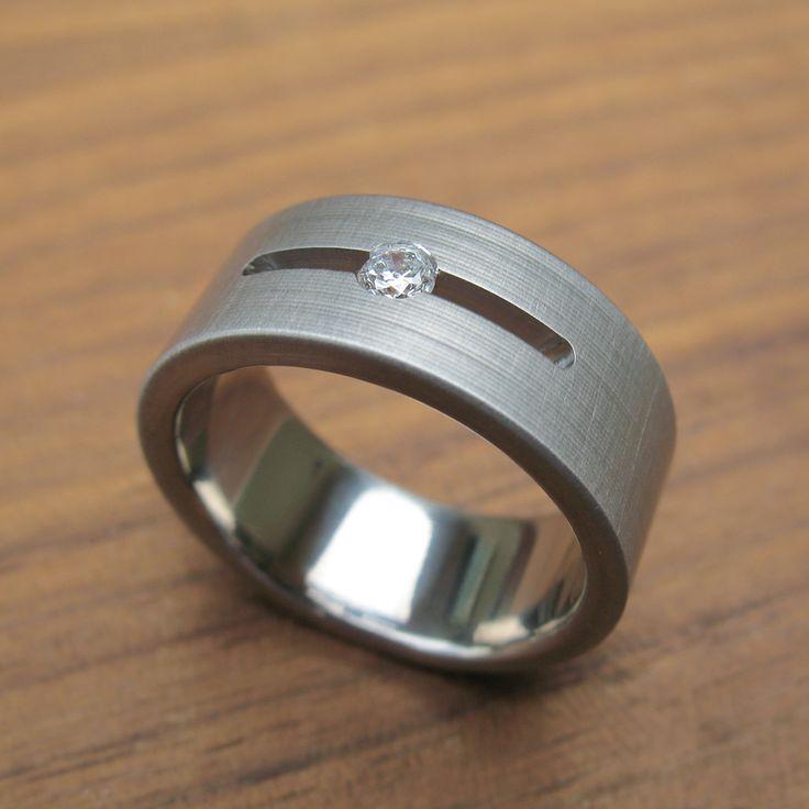 Men 39 S Diamond Titanium Channel Wedding Band By Spexton Jewelry Men 39