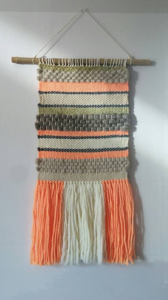 Handwoven wall hanging/tapestry/Weaving/Handloom/Peach-Earthy shades by KalaFiberArts on Etsy https://www.etsy.com/ca/listing/277045556/handwoven-wall