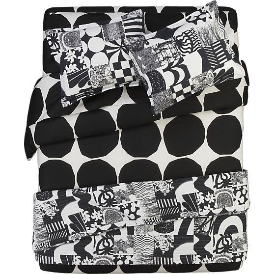 Marimekko Kivet Black Bed Linens in All Decorative Bedding | Crate and Barrel