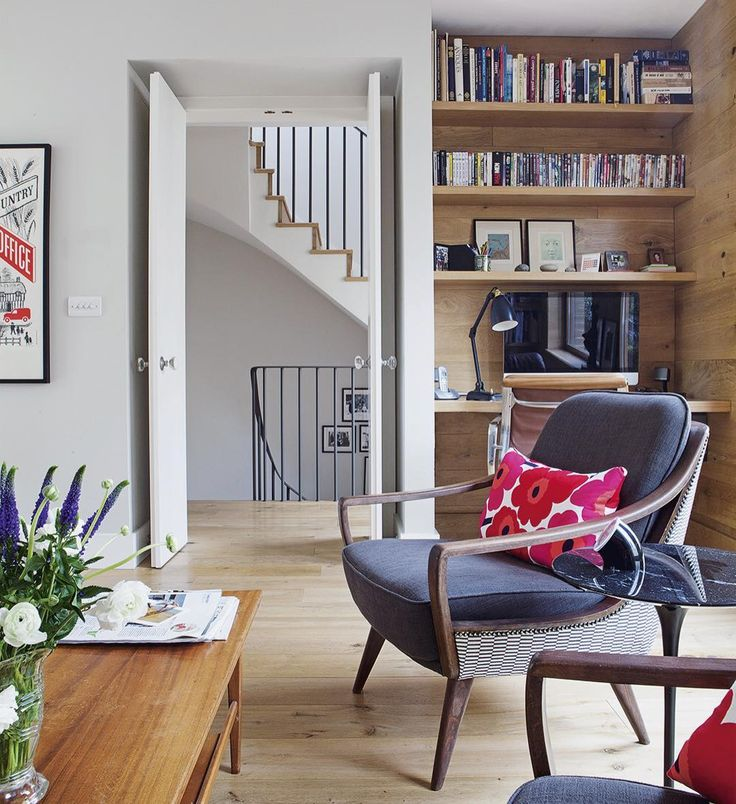 Superior ... Lends Warmth To This New Build Living Room, While Pieces Of Mid Century  Furniture And The Distinctive Marimekko Print On The Cushions Add Character.
