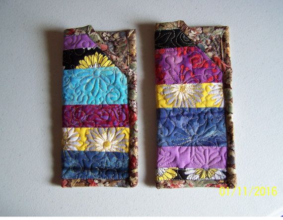 Patchwork quilted handmade eyeglass case  Kaleidoscope  beautiful unusual cool useful  gift for all for grandma for four-eyes   sunglasses