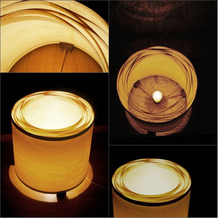 Spiral Maple Mini - #handmade #woodlamps #tablelight #woodenlights #woodwork #veneer #veneerlight Desktop light, made of maple veneer and mahogany.  Comes with power cable and lamp holder.  Dimensions: Diameter 37 cm, Height 35 cm  Φωτιστικό επιτραπέζιο, από καπλαμά σφενδάμου και ξύλο από μαόνι. Διαθέτει υφασμάτινο καλώδιο και διακόπτη on/off. Διαστάσεις: διάμετρος καπέλου 37εκ., συνολικό ύψος 35εκ.