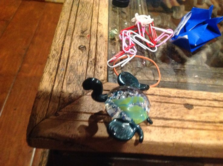 My first glass turtle!  Made at the Crucible, Oakland CA, on a middle school field trip.