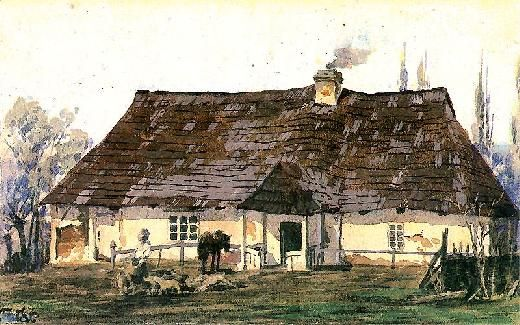 Julian Fałat - A Hut or the Plebania w Wyszatycach 1870