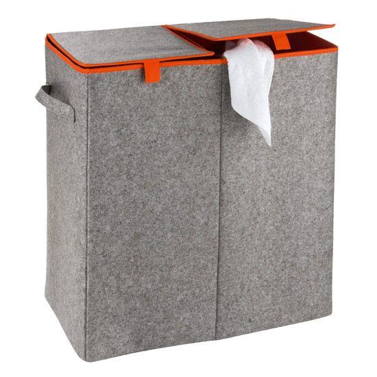 Wenko - Duo Felt Laundry Basket - Grey/Orange - 3440402100