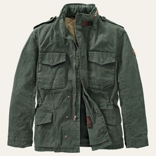 "TIMBERLAND* ""Mount Davis M65"" Waxed Jacket, Olive Green"