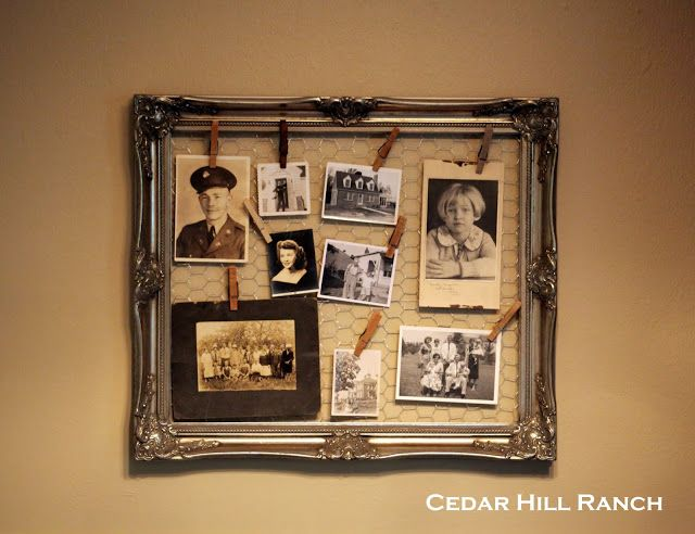 Use an old photo frame and chicken wire to show off a collection of old pictures.