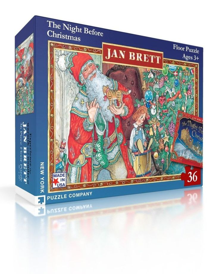 Details About New York Puzzle Jan Brett Night Before Christmas Kids Puzzles Jigsaw