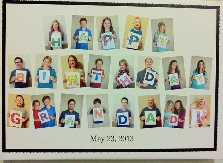 Gather family & friends; take a picture to spell out their loved one happy birthday and frame it