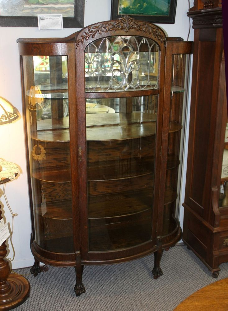 Details About Antique China Curio Cabinet Hutch W Leaded