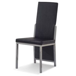 The Palais Dining Chair is contemporary luxury at its best. This chair features a pared-down design with its simple rectangular backrest that extends partially to the bottom. Its simple design doesn't mean functionality is compromised as it has a soft padded seat covered in premium leatherette that rests on durable black titanium legs and frame. #modernchair #moderndining