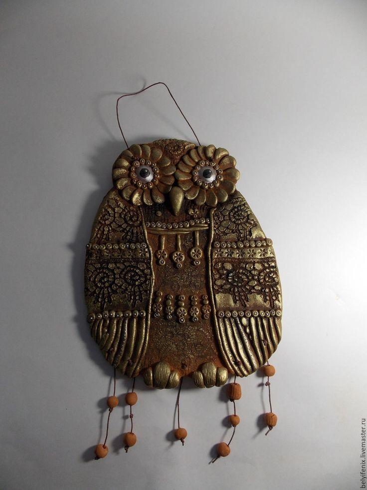 """Купить Панно """"Сова"""" - комбинированный, сова, сова панно, сова керамическая, сова глиняная"""