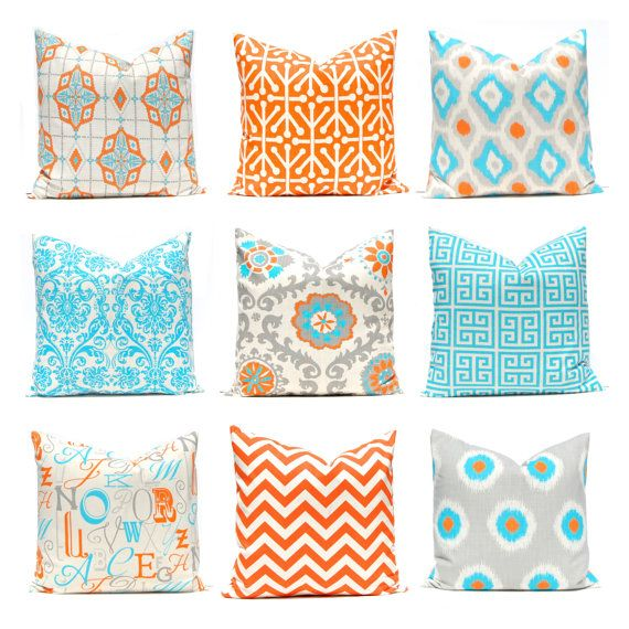 Turquoise Pillows Orange Pillows Decorative by FestiveHomeDecor