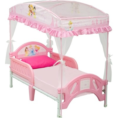 "Delta Disney princess toddler bed with canopy, ""this is for Lauren and me when we are bed-sleeping when we are princesses."""