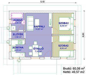 Alfa 60 energiatakarékos könnyűszerkezetes ház alaprajza