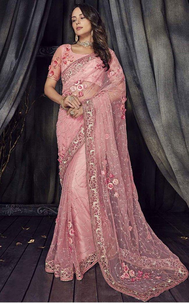 09450286a3572b Embroidered Net Saree in Pink in 2019 | saree | Saree wedding, Saree ...