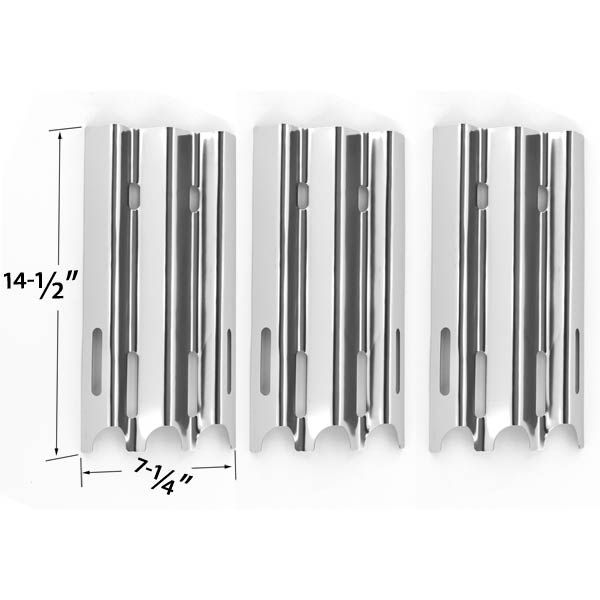 3 PACK STAINLESS STEEL HEAT PLATE FOR VERMONT CASTINGS, JENN-AIR & GREAT OUTDOORS GAS GRILL MODELS Fits Compatible Vermont Castings Models : CF9030, CF9030LP, CF9030N, CF9050, CF90501AP, CF9055, CF9055 3A, CF9055 3B, CF90551P, CF90553A, CF90553B, CF9055LP, CF9055N, CF9056, CF9080, CF90803AP, CF9085, CF9085 3A, CF9085 3B, CF9085-3B, CF90853A, CF90853B, CF9085LP, CF9086, CF9086LP