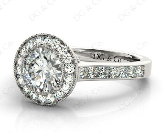 Brilliant Cut Halo Setting Ring with Claw Set Centre Stone - Build Your Engagement Ring