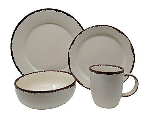 K&N- 16 PCS Rustic Stoneware Dinner Set Retro Art Ivory Kitchen Plate Bowl Mug #KandN #Rustic