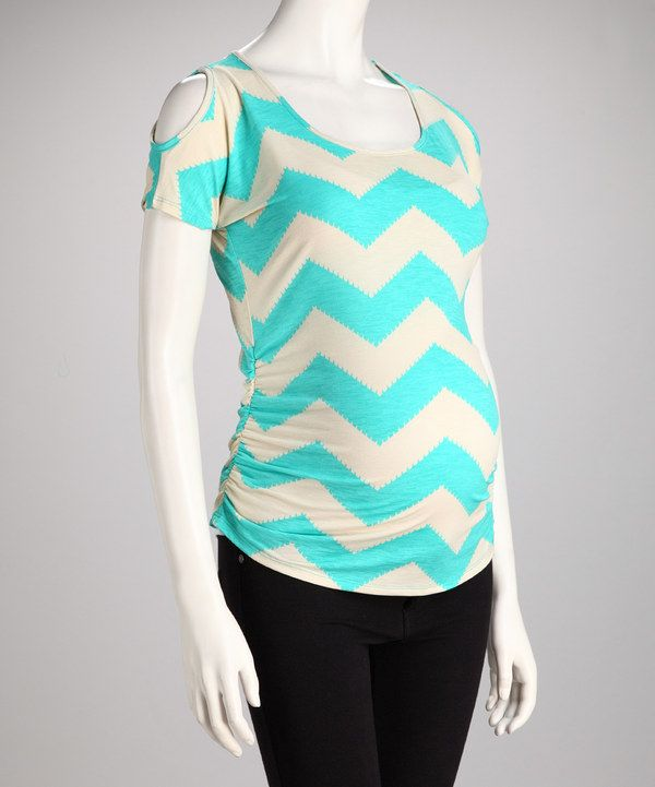 Take a look at this QT Maternity Aqua Chevron Maternity Cutout Top on zulily today!