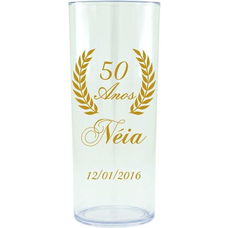 Copo Acrílico Personalizado Aniversário 50 Anos Transparente - ArtePress | Brindes, Canecas, Copos de Acrílico Personalizado