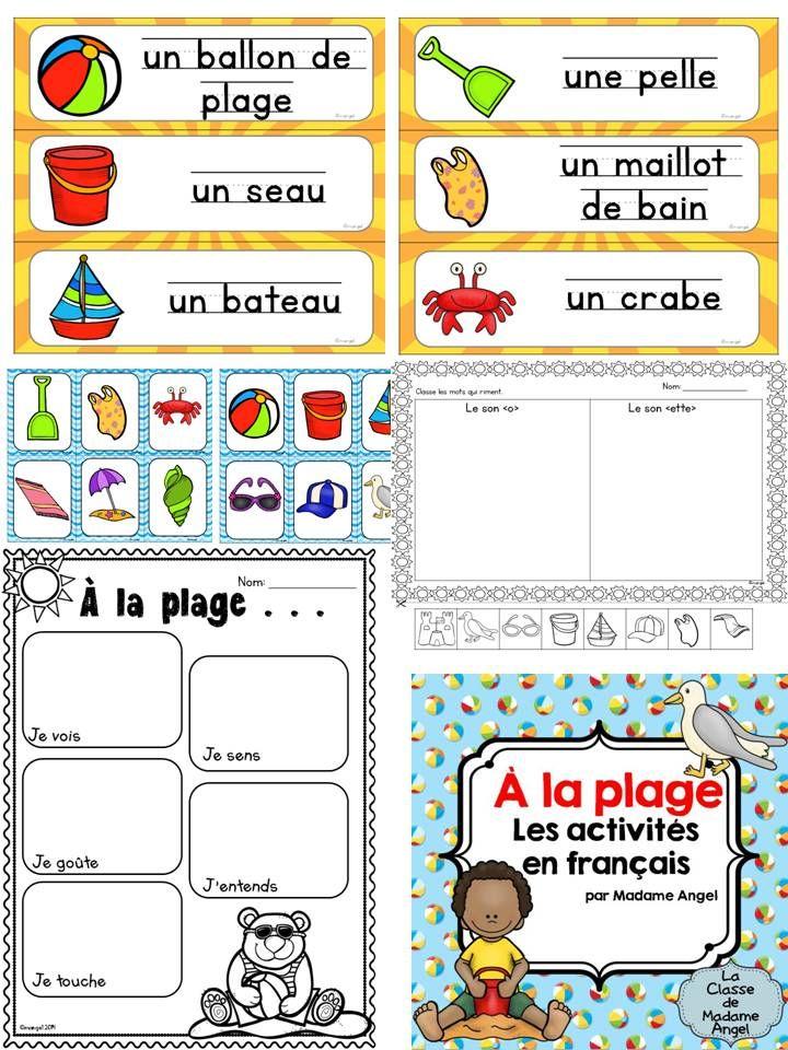 $ À la plage!  Les activités d'été en français!  Summer beach themed activities in French!