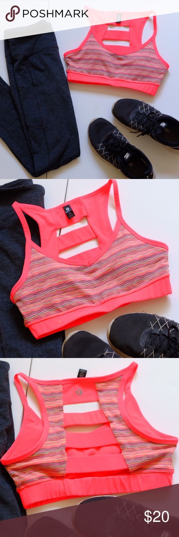 Pink colored stripe cutout back padded sports bra Padded! Cute multi colored striped sports bra! The back is just lovely! NOT LULU LEMON - tagged for exposure. Brand is 90 degrees by Reflex. XS sports bra! lululemon athletica Intimates & Sleepwear Bras