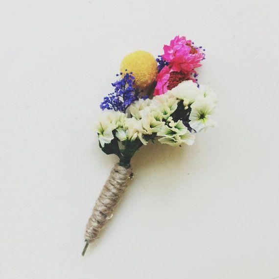 Bright Mix Wildflower boutonniere pin by ThreeLittleBirds1222, $8.00