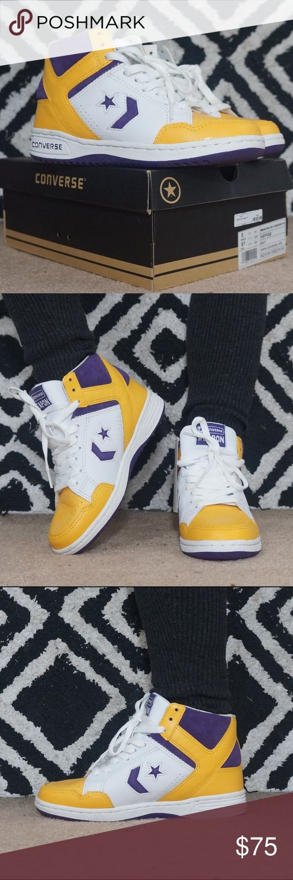"Converse Weapon's Converse ""Weapon 86 League Hi"". White, Purple, Yellow. Laker's colors. Size 5 men, 6.5 women. Runs big like a women's 7. Box included. Converse Shoes Sneakers"