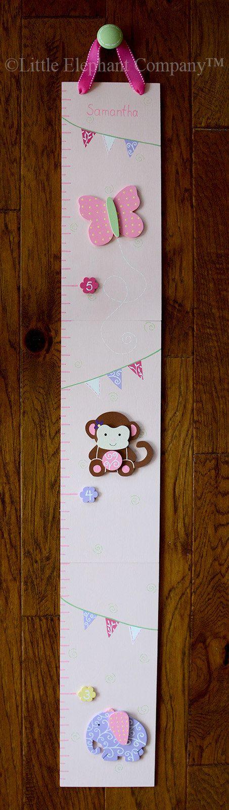 Sweet Girl Pink Jungle Wooden Growth Chart by LittleElephantCo