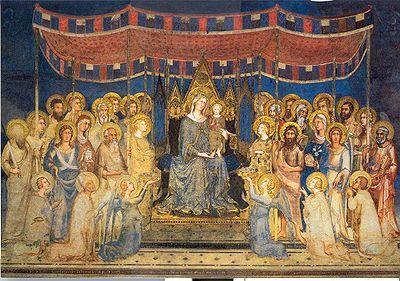 La Maestà del Palazzo Pubblico di Siena -La collocazione regale è accentuata dall'ampio BALDACCHINO in tessuto che è sostenuto da alcuni Santi ,senza sforzo apparente ,quasi fosse privo di peso .Infatti ,si tratta di una visione celestiale ,in cui angeli e santi fanno corona alla maesta' di Maria .