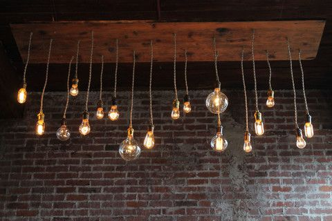 Reclaimed barn wood chandelier light fixture with varying style bulbs, repurposed lighting, recycled wood light