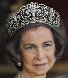 Tiara Mania: Queen Victoria Eugenie of Spain's Fleur de Lys Tiara worn by Queen Sofia of Spain